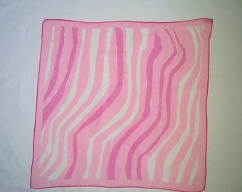 Vera Sheer Scarf with Pink and White Stripes Square Vintage Scarf