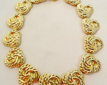 Vintage Collar Necklace Gold Plated Tone 84 Grams Retro Art Deco Large Chunky Statement Runway