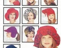 90s Womens Fashion Hats 9 Hat Patterns Fits Small, Medium and Large Heads Butterick Sewing Pattern 3055 UnCut