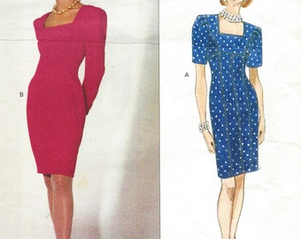 90s Albert Nipon Womens Princess Seam Dress Square Neckline Vogue Sewing Pattern 2835 Size 8 10 12 Bust 31 1/2 to 34 UnCut American Designer