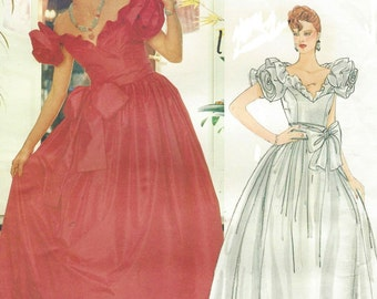 80s Bellville Sassoon Womens Ballgown, Wedding Dress Sweetheart Neckline Vogue Sewing Pattern 1152 Size 14 Bust 36 UnCut Vintage Vogue