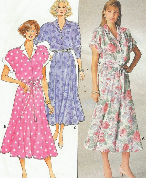 80s Butterick Sewing Pattern 3725 Womens Summer Dress Button