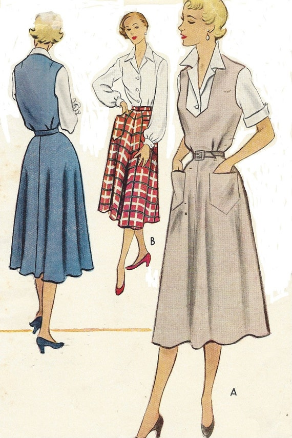 1950s womens jumper or skirt and blouse mccalls sewing pattern