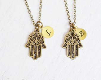 best friend necklace, personalized mother jewelry, hamsa hand jewelry, religion, peace, friendship gift, bridesmaid gift, couples necklace