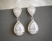 Crystal Wedding Earrings, Bridal Earrings, Zirconia Teardrop Dangle Earrings, Wedding Jewelry, Silver Bridal Jewelry, Vintage Style, JUDITH