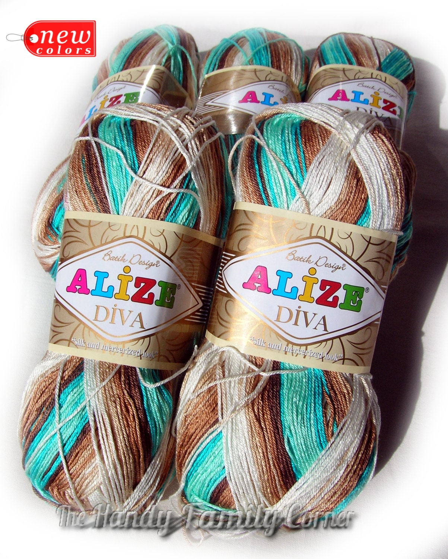 Alize Diva Batik Design Silk Effect Yarn. By HandyFamily