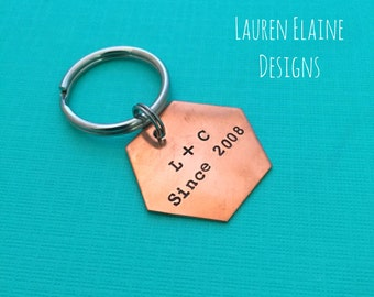 "Custom Hand Stamped 1"" Hexagon Geometric Keychains- You Personalize- In Aluminum, Brass, or Copper"