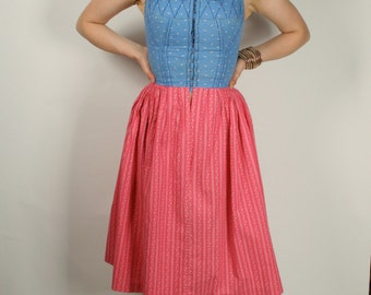 Vintage 50s 60s dirndle dress pink blue S