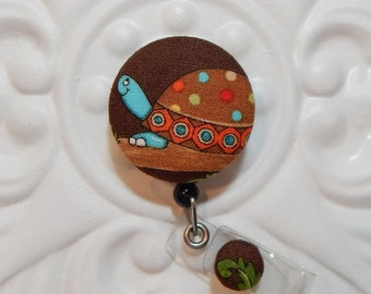 Badge Lanyard Retractable Badge Holder Teacher Lanyard Fabric Covered Button Cute Turtle