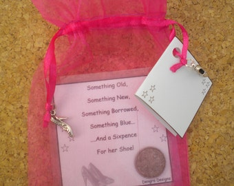 HOT PINK Organza Bridal SIXPENCE Something Old Something New Something Borrowed Something Blue and a Sixpence For Her Shoe