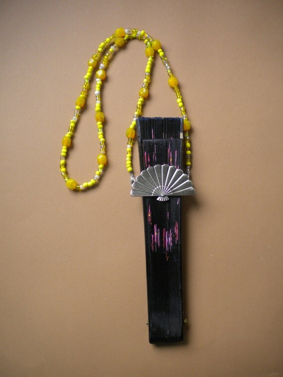 Hand Fan Holder Necklace Chain CHOOSER OPTIONS Strap and Holder Yellow Beads OOAK