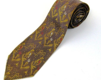 60s Illustrated Tie Snake Charmer Tie  Unlined Tie Brown Gold Tie 1960s Skinny Tie Brown Narrow Tie Skinny Taupe Tie  60s Vintage Neckwear