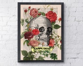 CARPE DIEM - Roses Skull Tatoo -skull art print Wall Art Book Print on Vintage Dictionary Page, wall decor poster art BPSK075b
