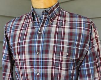 vintage 70's - 80's -Hahne's- Men's long sleeve, button down collar shirt. Like Gant 'Foxhunt' plaid. Plum & Grey. Medium