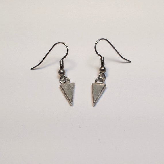 solid sterling silver triangle drop earrings with by rermetals