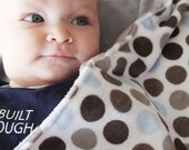 Grey with Grey and Blue Polka dots - Stroller Blanket Double Sided Minky Cuddle
