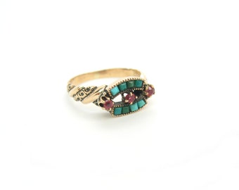 Victorian Ring. 14K Gold, Antique Persian Turquoise & Garnet Ring. Natural Gemstones. 1890s to 1900s Jewelry.  Size 5.75 plus.