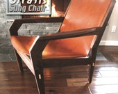 SALE-Available Now, Stratis Sling Chair tm- Low Back One Piece Rustic Tan leather Club Chair,  Handmade Original Design, Mid Century