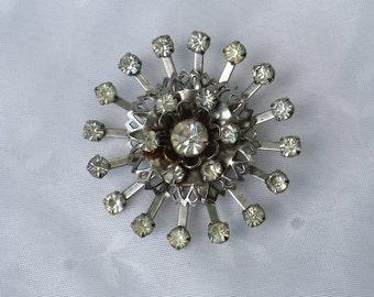 Vintage Silver Rhinestone Brooch Pin