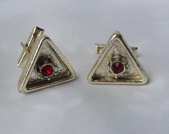 Vintage Triangle Ruby Birthstone Cuff Links