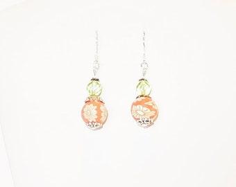 Orange wood, flower bead dangle earrings with green glass beads, Fun earrings, On Sale