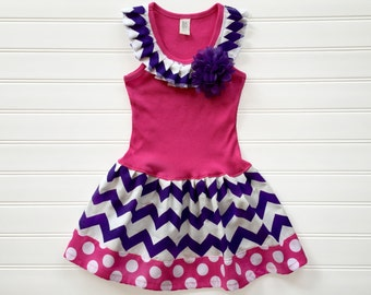 Girls Custom Boutique Dress Chevron Dress Girls Dresses Purple and Hot pink Dress  Kids Tank Dress Available Sizes 3-6 Months through 6/8