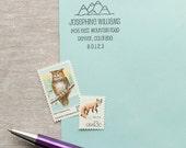 Self-Inking Return Address Stamp MOUNTAIN RANGE Design self inking Interchangeable stamp or traditional Wood Handle address Stamp