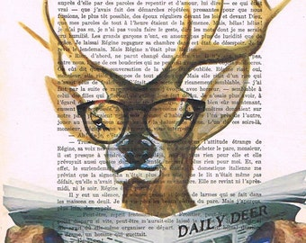 Drawing Illustration Giclee Prints Posters Mixed Media Art Acrylic Painting Holiday Decor Gifts, Deer reading newspaper