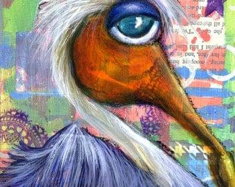 Rod the Purple Pelican Fine Art Print-Giclee-Coastal-Mixed Media-Ocean-Sea Life-Bird Art-Coastal Bird-Pelican Painting-Beach House-Nautical