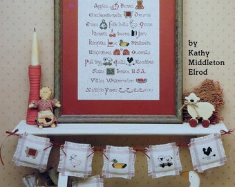 Kathy Middleton Elrod PRAIRIE SAMPLER By Leisure Arts & Ornaments - Counted Cross Stitch Pattern Chart