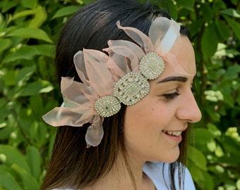 Bridal Flapper Headpiece, Wedding Head Piece, Rhinestone 40's Headband, Hair Accessory, Blush Pink Organza Flower, Rose Quartz Wedding