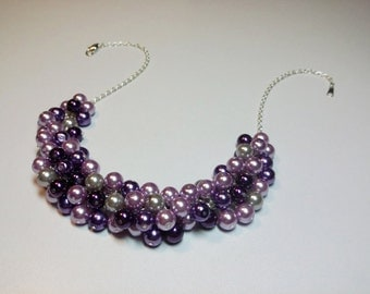 Shades of Purple and Gray Pearl Cluster Necklace, Bridesmaid Wedding Valentines Mothers Day Gift, Mom Sister Jewelry, Inspired By Megan