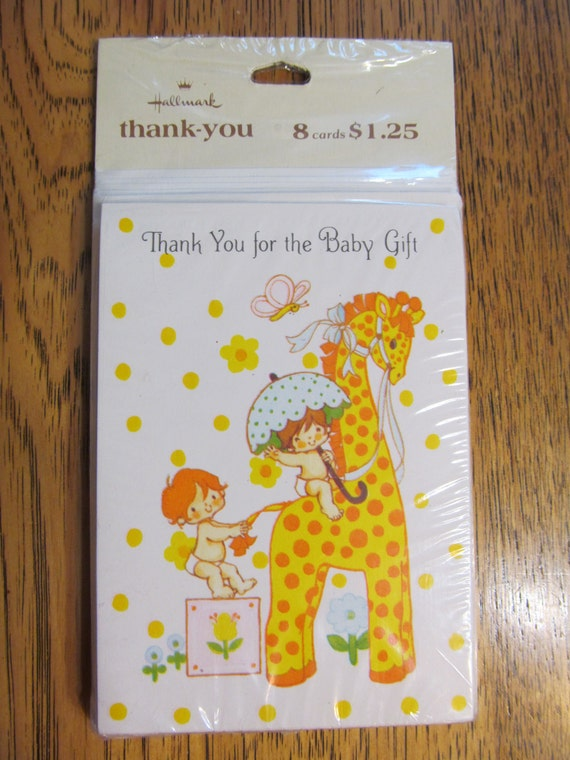 Baby Gift Thank You Card Packs : Vintage s mip thank you for the baby gift cards pack of