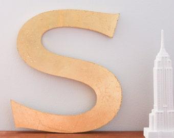 Vintage Shop letter S, Gold Leaf. Sans Serif