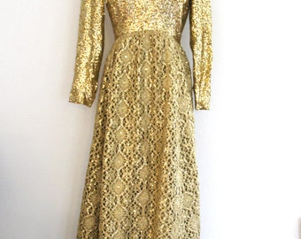 1960s Gold Formal Ball Gown Sequins Bodice Crochet Skirt Metallic Thread Mardi Gras Awards Gala Womens Vintage Medium