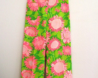 1970s Lilly Pulitzer Floral Pants Wide Leg Pink Green Sunflowers Bold Print High Waist Womens Vintage Small