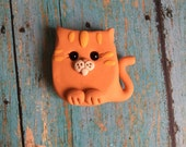 Little Orange Tiger Cat Art Magnet - Polymer Clay - Art by Sarah Price