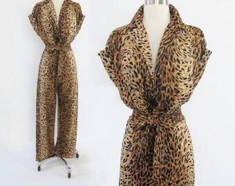 Vintage 50's / 70's  Bad Girl Style Leopard Print Catsuit Jumpsuit M L