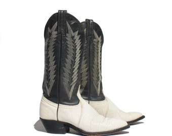 5 M | J. Chisholm  White & Black Lizard Western Boots Two Tone Women's Cowboy Boots