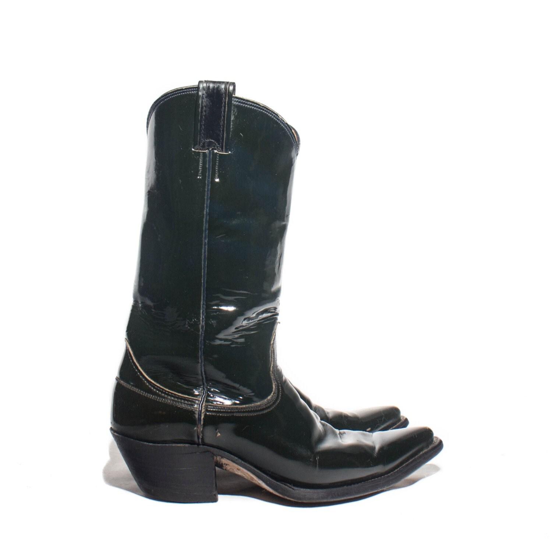 9 d nocona black patent leather cowboy boots fancy western