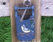 Tufted Titmouse, Christmas ornament, hand painted, wood mini sled, bird decor, woodland decor, country Christmas, prim christmas, CIJ