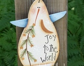 CIJ, Snowman ornament, joy to the world, hand painted, Christmas ornament, snowman tree, snowman decor, wooden ornament