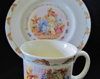 Vintage Royal Doulton Bunnykins Christening Gift Set - Plate and Mug