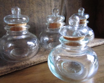 Vintage Glass Apothecary Collection Spice Bottles Cork Stopper
