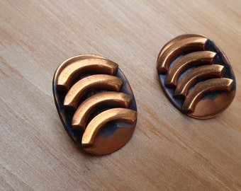 Vintage Copper Artisan Made Clip On Earrings