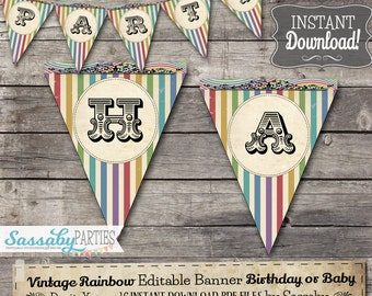 Vintage Rainbow Party Banner / INSTANT DOWNLOAD / Editable & Printable / Birthday Decorations / Decor / Bunting / Colorful Stripes / Circus