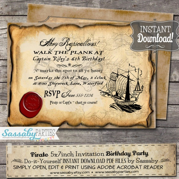 Pirate Birthday Party Invitation - INSTANT DOWNLOAD - Editable & Printable file by Sassaby Parties