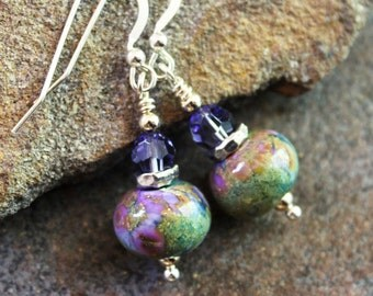Awesome Art Glass Earrings - Periwinkle Swarovski, Sterling Silver - Lampwork Earrings - Organic - boho - one of a kind - handcrafted