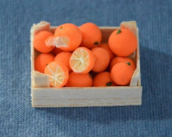 Dollhouse Miniature Fruit - Handmade - Mini Food - One Inch Scale Oranges - In Crate - Removable
