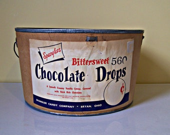 Vintage Spangler Candy Company Advertising Pail   Chocolate Drops